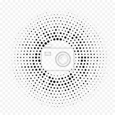 Halftone cercle motif géométrique pointillé. Gradient circulaire minimal blanc noir abstrait Vector avec effet texturé graphique tendance simple demi-teinte radiale pour le fond de la technologie