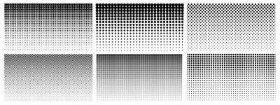 Papiers peints Halftone gradient. Dotted gradient, smooth dots spraying and halftones dot background seamless horizontal geometric pattern vector template set. Abstract dot gradient halftone pattern illustration