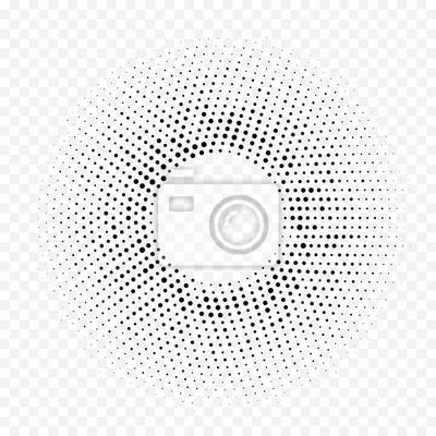 Halftone pointillé motif géométrique de fond circulaire. Vecteur transparente abstraite blanc point noir cercle demi-gradient minimal. Texture graphique simple et tendance pour la conception de textur