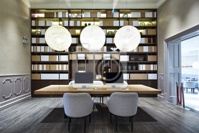 Hall de luxe dans la bibliothèque moderne papier peint • papiers ...