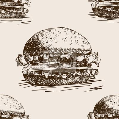 Hamburger, sandwich, croquis, seamless, modèle, vecteur
