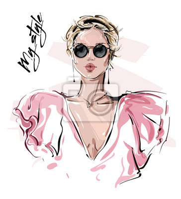 Papiers peints Hand drawn beautiful young woman in sunglasses. Stylish girl. Fashion woman look. Sketch. Vector illustration.