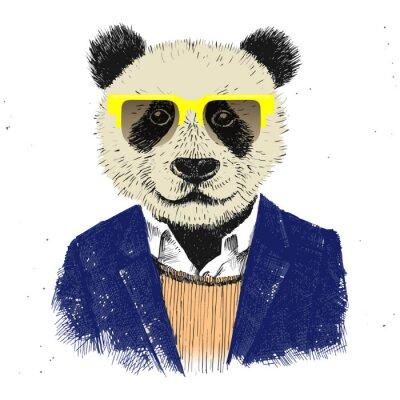 Papiers peints Hand Drawn habillé hippie panda