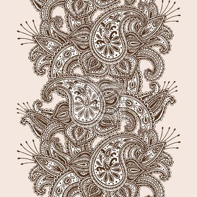 Hand-Drawn Henna Mehndi Résumé Mandala Fleurs et Paisley Doodle illustration vectorielle éléments de conception