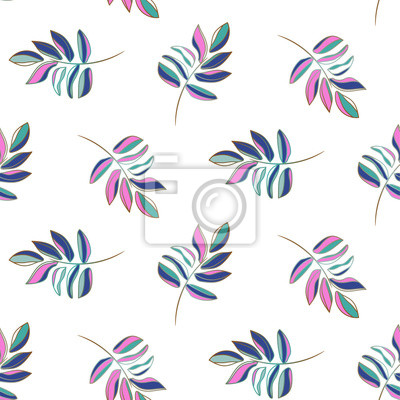 Hand drawn outline leaves purple pop colors seamless vector pattern.