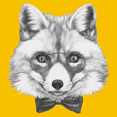 Papiers peints Hand drawn portrait of Fox with glasses. Vector isolated elements.