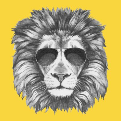 Papiers peints Hand drawn portrait of Lion with sunglasses. Vector isolated elements.