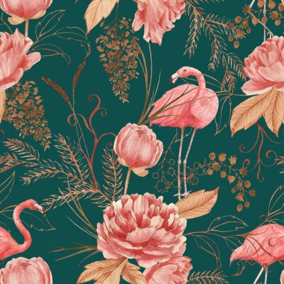 Papiers peints Hand drawn watercolor seamless pattern with pink flamingo, peony and decorative plants. Repeat background illustration