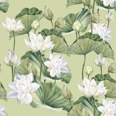 Papiers peints Hand drawn watercolor seamless pattern with white lotus flowers and lotus leaf