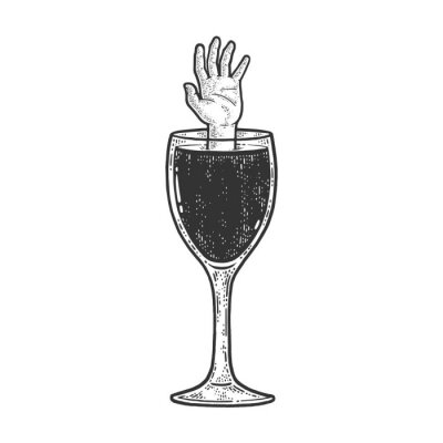 hand drowning in a glass of wine sketch engraving vector illustration. T-shirt apparel print design. Scratch board imitation. Black and white hand drawn image.