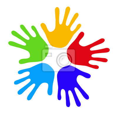 handprints colorés dans un cercle