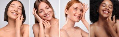 Papiers peints Happy diverse models touching clean skin