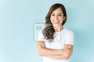 Papiers peints Happy Self-Assured Woman On Isolated Background