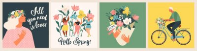 Papiers peints Happy Womens Day March 8! Cute cards and posters for the spring holiday. Vector illustration of a date, a woman and a bouquet of flowers!