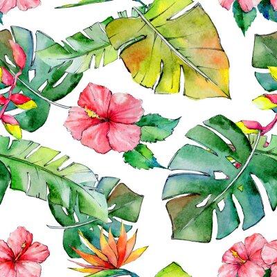 Papiers peints Hawaï tropical dévoile un motif dans un style aquarelle. Aquarelle fleur sauvage pour l'arrière-plan, la texture, le motif de l'enveloppe, le cadre ou la bordure.