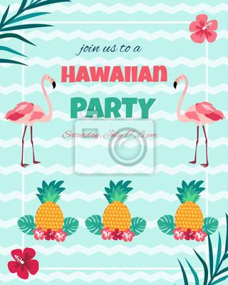 Hawaiian Invitation Lumineuse Avec Flamants Roses Ananas Feuillage