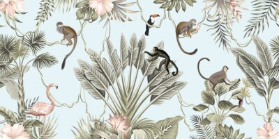 Papiers peints  Hawaiian vintage botanical palm tree,banana tree, palm leaves, hibiscus flower, liana, monkey animal summer paradise floral seamless border blue background.Exotic jungle wallpaper.  G
