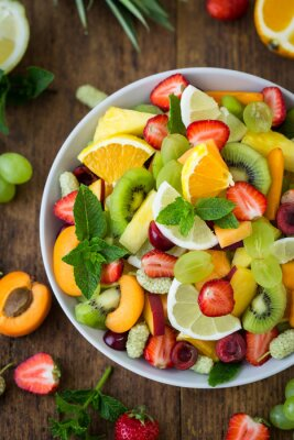 Healthy fresh fruit salad in the bowl