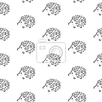Hedgehog ligne stylisée motif amusant sans couture pour les enfants et les bébés. Conception de tissu animal mignon pour le linge et l'habillement de textile dans le style simple scandinave.