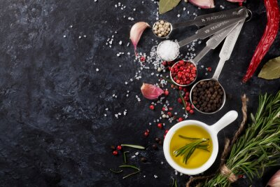 Papiers peints Herbes, épices, noir, pierre