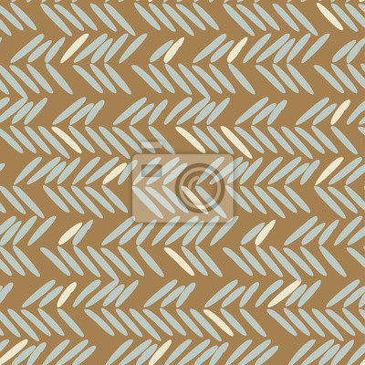 Herringbone blue and gold hand drawn simple seamless texture.