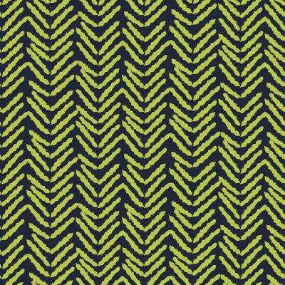 Herringbone blue and green hand drawn simple seamless texture.
