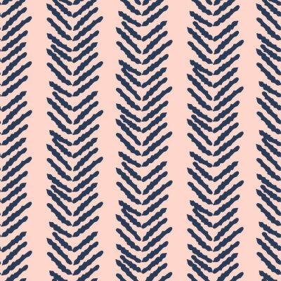 Herringbone blue and pink hand drawn simple seamless texture.