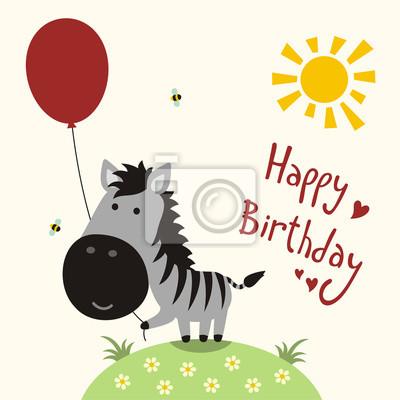 Carte Anniversaire Zebre.Papiers Peints Heureux Anniversaire Carte Vecteur Heureux Petit Zebre A Ballon