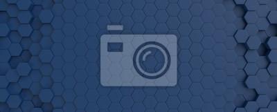 Papiers peints Hexagonal dark blue navy background texture placeholder, 3d illustration, 3d rendering backdrop