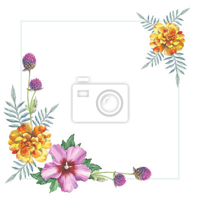 Hibiscus Rose De Souci Jaune Et Ornement De Cadre De Guirlande