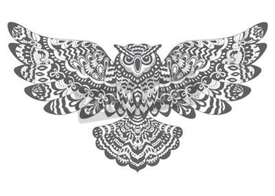 Chouette Dessin Stylisé hiboux de vecteur décoratif stylisé. dessin pour le livre de papier