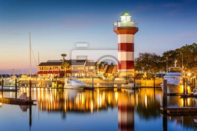 Papiers peints Hilton Head, en Caroline du Sud, États-Unis Phare au crépuscule