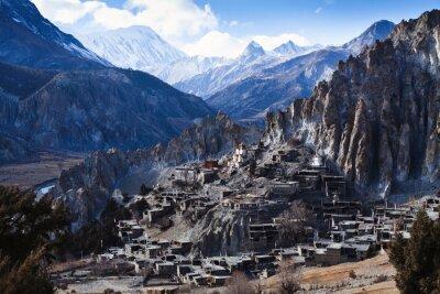 Papiers peints Himalaya montagnes, Népal, vue, petit, village, Braga, Annapurna, circuit
