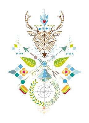 Papiers peints Hirschjagd - Grafisches Muster avec Hirschkopf, Zielscheibe, Pfeile, Blätter und Blüten
