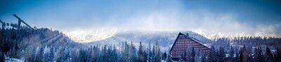 Papiers peints Hiver, scénique, panorama, vue, montagne, hôtel, ski, saut, plate-forme, soleil, couvert, nuages