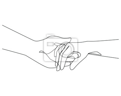 Papiers peints Holding hands one line drawing on white isolated background. Vector illustration