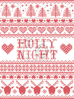 Holly Night Christmas pattern with Scandinavian Nordic festive winter pattern in cross stitch with heart, snowflake, Christmas tree, reindeer, forest, star, snowflakes in white,red