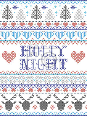 Holly Night Christmas pattern with Scandinavian Nordic festive winter pattern in cross stitch with heart, snowflake, Christmas tree, reindeer, forest, star, snowflakes in white,red, gray, blue