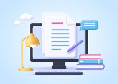 Papiers peints Homework assignment. Concept of e-learning, online education, home schooling, web courses, tutorials. 3d realistic vector illustration.
