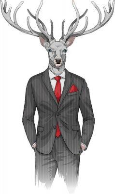 Homme, cerf, tête, habillé, complet