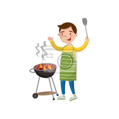 Dessin Barbecue homme gai, préparer un barbecue sur le vecteur de dessin animé