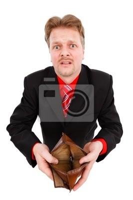 Homme montrant portefeuille vide