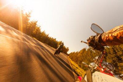Papiers peints Homme, siège, moto, forêt, route