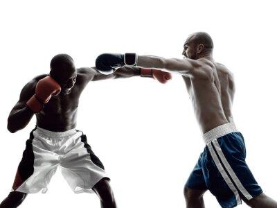 Papiers peints Hommes, boxeurs, boxe, isolé, silhouette