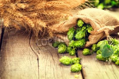 Papiers peints Hop dans le sac et les oreilles de blé sur la table ancienne fissurée en bois. Concept de brasserie de bière. Ingrédient pour la brasserie de bière. Beauté, frais, cueilli, houblon, cônes, blé, closeu