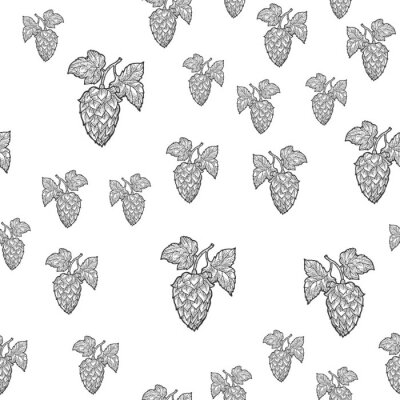 hop leaf beer ingredient seamless pattern background sketch engraving vector illustration. T-shirt apparel print design. Scratch board imitation. Black and white hand drawn image.