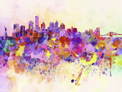 Papiers peints Horizon de New York en fond d'aquarelle