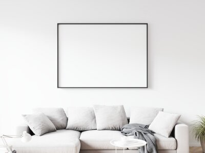 Papiers peints Horizontally oriented rectangular picture frame with thin black border hanging on white wall above sofa in living room. 3D illustration.