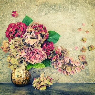 Papiers peints Hortensia fleurs bouquet fond de pierre vintage tonique