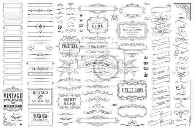 Papiers peints Huge collection or set of vector decorative elements for design